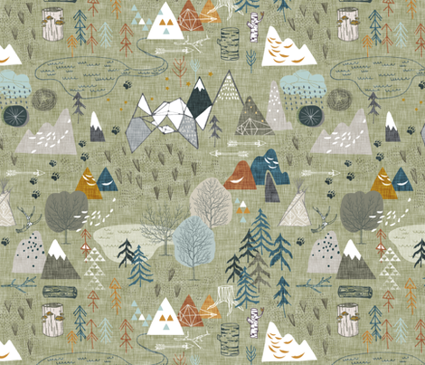 Max's Map (olive) fabric by nouveau_bohemian on Spoonflower - custom fabric
