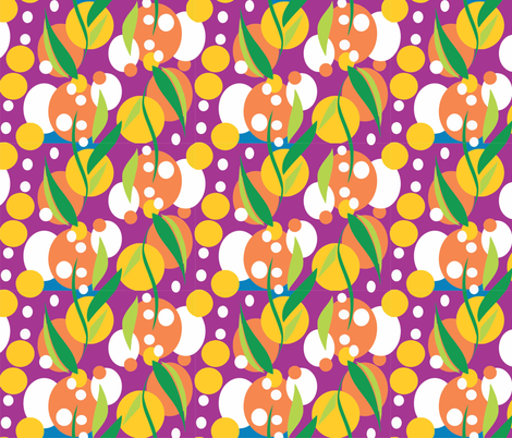 Wattle_purple fabric by malolo on Spoonflower - custom fabric