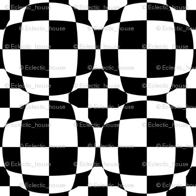 Black and White Checkerboard 3-D Illusion Dots