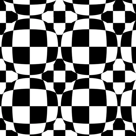 Black and White Checkerboard 3-D Illusion Dots fabric by eclectic_house on Spoonflower - custom fabric