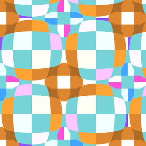Aqua and Brown Checkerboard 3-D illusion Dots fabric by eclectic_house on Spoonflower - custom fabric