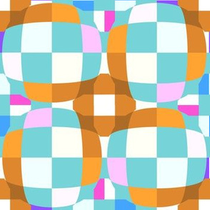 Aqua and Brown Checkerboard 3-D illusion Dots