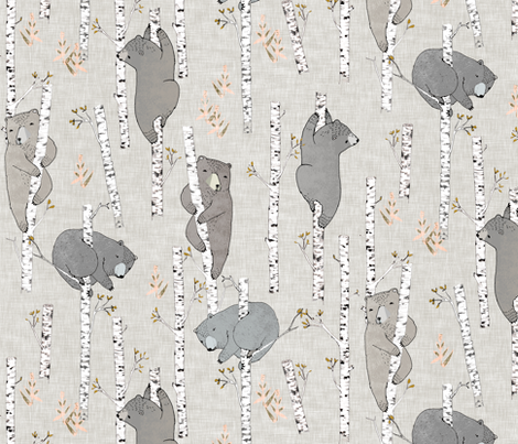 Birch Bears (latte) REGULAR fabric by nouveau_bohemian on Spoonflower - custom fabric