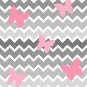 Grey Gray Ombre Chevron Pink Butterfly