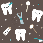 Happy Teeth & Friends (Large) - Brown & Teal
