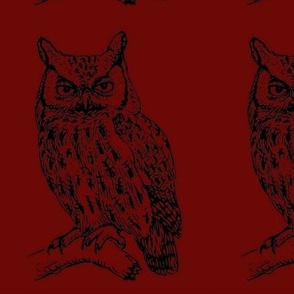 Owl stencil on Brown Swatch