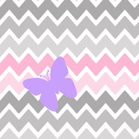 Pink Grey Gray Chevron Purple Butterfly fabric - decamp ...