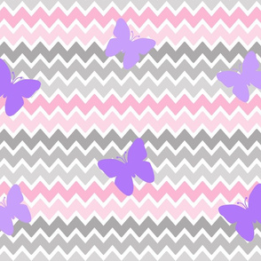 Pink Grey Gray Chevron Purple Butterfly