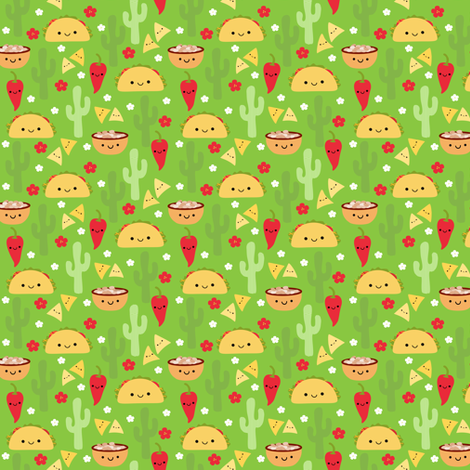 Happy Taco and Friends - Green (small) fabric by clayvision on Spoonflower - custom fabric