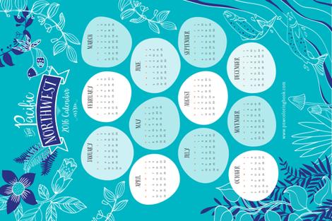 The Pacific Northwest 2016 Calendar  fabric by snowflower on Spoonflower - custom fabric