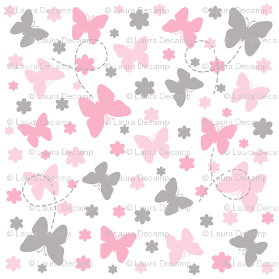Pink Grey Gray Butterfly Floral Garden