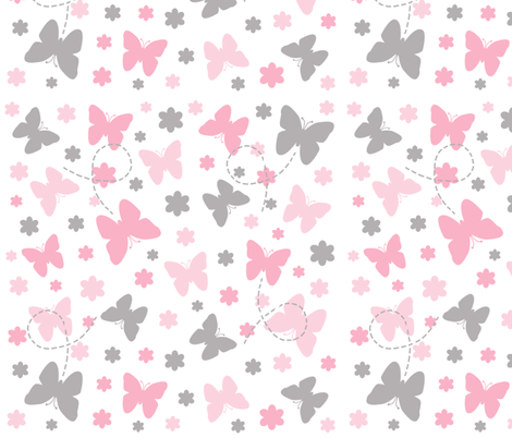 Pink Grey Gray Butterfly Floral Garden fabric by decamp_studios on Spoonflower - custom fabric