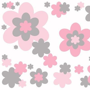 Pink Grey Gray Floral