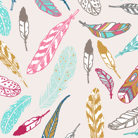 Gypsy Feathers (aqua) fabric by nouveau_bohemian on Spoonflower - custom fabric