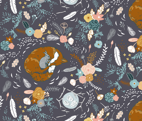 Friendship in a field (LARGE) fabric by nouveau_bohemian on Spoonflower - custom fabric