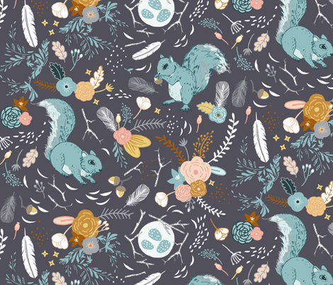 Squirrels (charcoal) fabric by nouveau_bohemian on Spoonflower - custom fabric