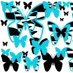 Teal Turquoise Blue Zebra Butterfly Animal Print
