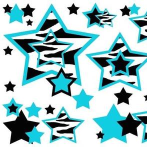 Teal Turquoise Blue Zebra Star Animal Print