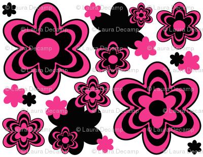 Hot Pink Black Flower Floral Design Fabric Decamp