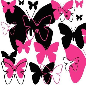Hot Pink Black Butterfly Abstract Design