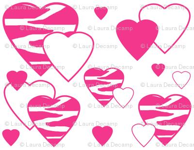 Hot Pink Zebra Heart Animal Print Geometric Design