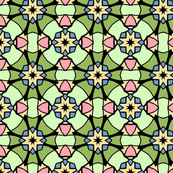 Green Floral Geometric