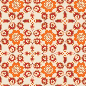 Orange and Red Floral