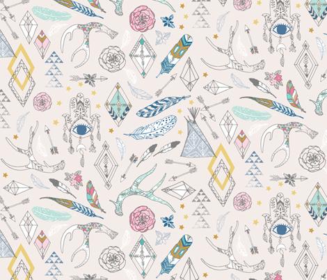 Gypsy Spirit (cream + pink) fabric by nouveau_bohemian on Spoonflower - custom fabric