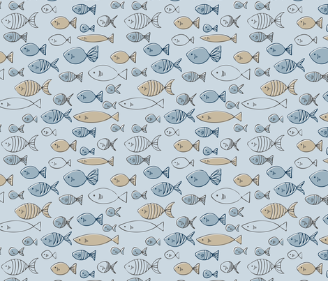 Blue Fish fabric by sarah_price on Spoonflower - custom fabric