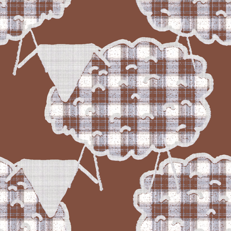 Checked Sheep on Brown fabric by anniedeb on Spoonflower - custom fabric
