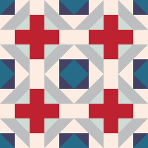 Plus Quilt - Red, Navy and Peach