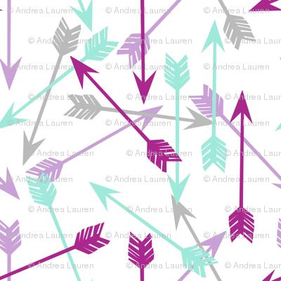 arrows // purple mint grey girly arrows arrow nursery little girls illustration pattern print