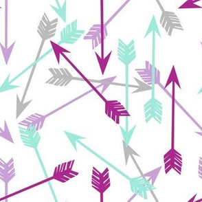 arrows // purple mint grey girly arrows arrow nursery little girls illustration pattern print