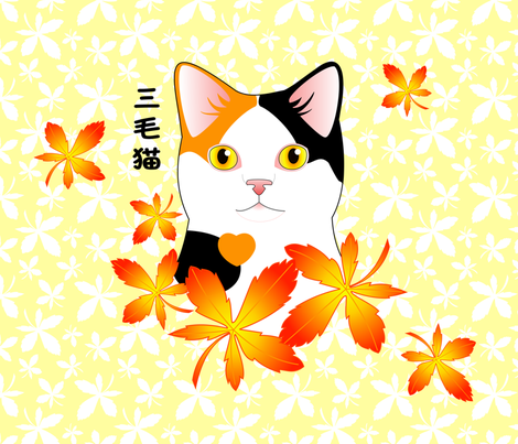 Mi-Ke Japanese Three Color Lucky Cat fabric by bliss_and_kittens on Spoonflower - custom fabric