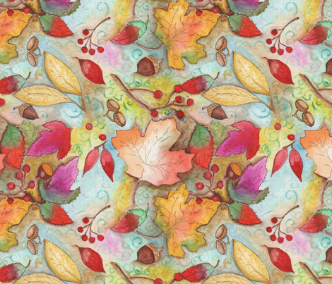 autum_leaves_seed_pattern_ fabric by edithschmidtartllc on Spoonflower - custom fabric
