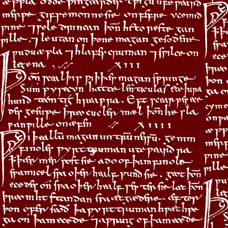 Old English on Burgundy // Small fabric by thinlinetextiles on Spoonflower - custom fabric
