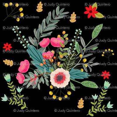 Boho Floral Black Background