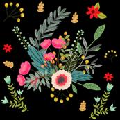 Boho Floral / Black Background