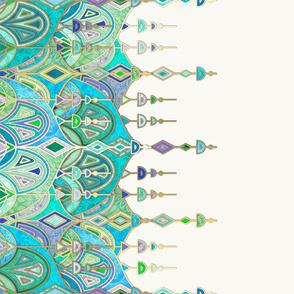 Jade and Aquamarine Art Deco Double Drop border print