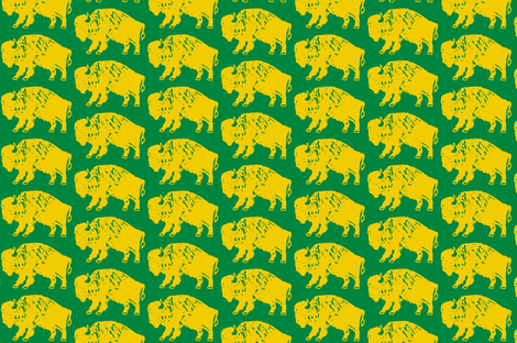 Bison Print - Green & Gold fabric by kelly_korver on Spoonflower - custom fabric