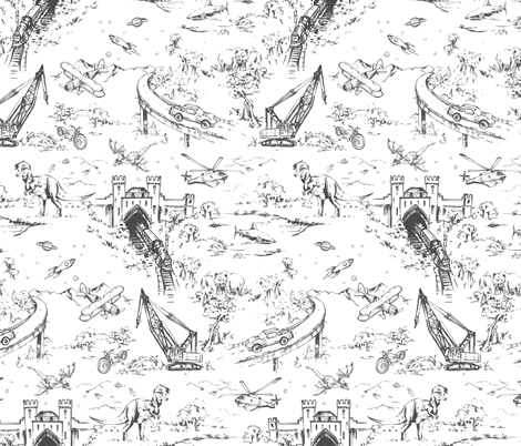 Adventure Toile_Graphite fabric by pattern_state on Spoonflower - custom fabric