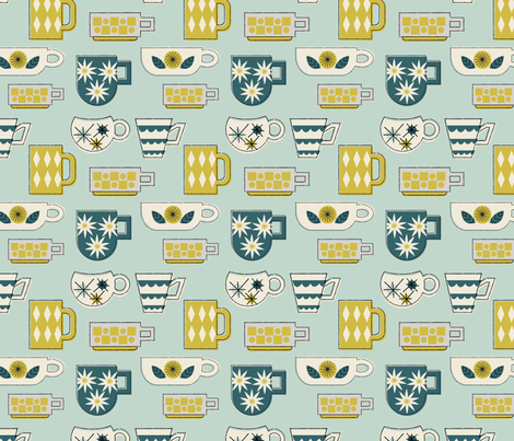 Retro Coffee Mugs fabric by mintgreensewingmachine on Spoonflower - custom fabric