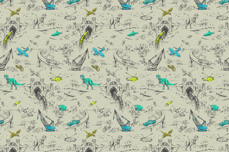 Adventure Toile mini fabric by pattern_state on Spoonflower - custom fabric