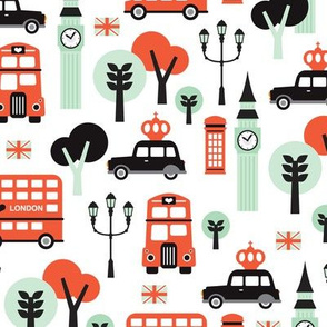 London city black cab big ben and UK union jack travel icons  illustration pattern