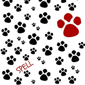 Paw Prints LG Black Red Text Personalized SPELL