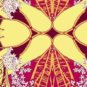 Ornamental Crimson, Gold, and Dark Brown