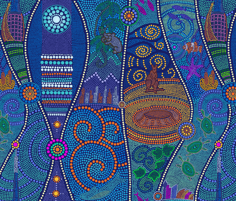 Dreaming Australia - Shifted  fabric by elramsay on Spoonflower - custom fabric