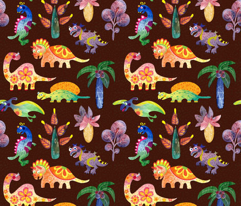 Dinosaurs fabric by nellik on Spoonflower - custom fabric