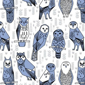 owl // serenity purple periwinkle cute hand-drawn owl bird illustration by Andrea Lauren