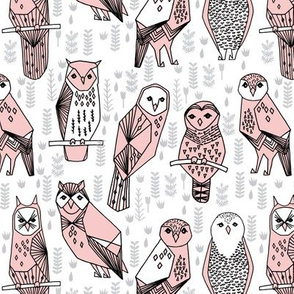 owls // pastel pink hand-drawn owl illustration by Andrea Lauren